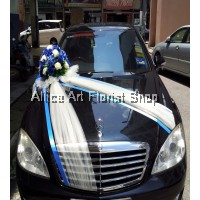 BLUE  WEDDING CAR DECO