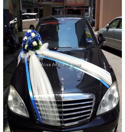 BLUE  WEDDING CAR DECO