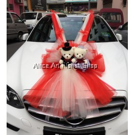 BRIDE AND GROOM CAR DECO